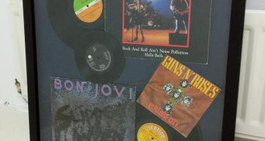 ACDC & Bon Jovi & Guns & Roses Framed Vinyl Records & Sleeves