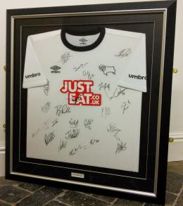 Derby County Framed Football Shirt with Typeset