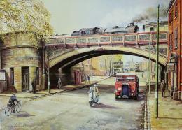 Bygone Derby Friar Gate Bridge print by Colin Wright