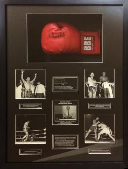 Framed Boxing Glove Signed with Photographs
