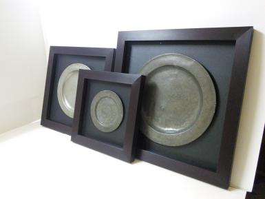 Framed Pewter Plates with Art Glass to show texture.