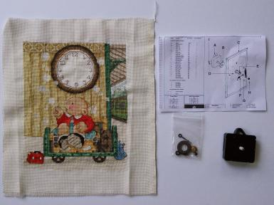 Framing Embroidery with working clock mechanism