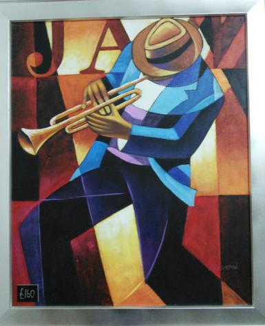 Framed Original oil Trumpet Player