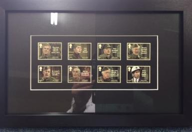 Dads army stamps framed with 2 types of glass The art glass is on right hand side.